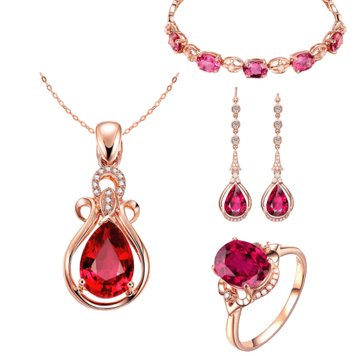 Jewelry set of Tourmaline Pendant Necklace + Pink Crystal Bracelet + Pink Crystal Ring + Ruby Earring - luckacco