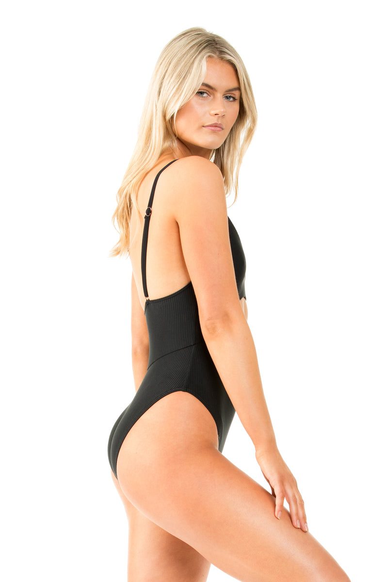 BLACK RIB TANK ONE PIECE