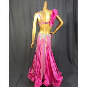 Belly Dance Costume Bra & Skirt Set Red / Hot Pink TF2052 ★Group split