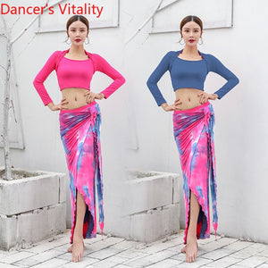 Belly Dance Long Skirt & Top Set Lesson Wearing Set