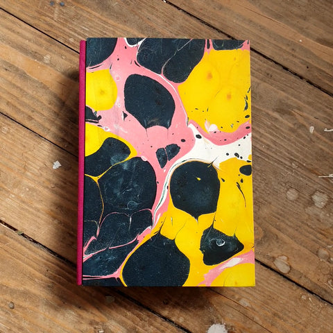 A5 Hardback Plain Notebook - Yellow Marble
