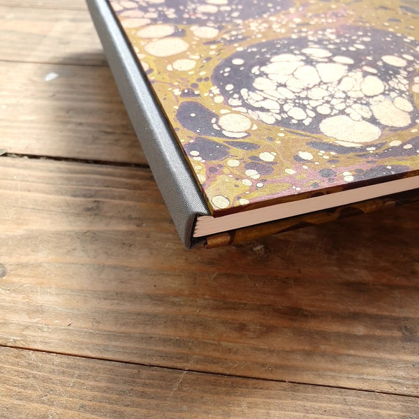 A5 Hardback Plain Notebook - Claret Yellow Gold Marble