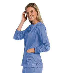 Landau Women's All Day Snap Front Warm-up Scrub Jacket