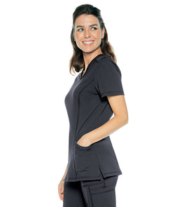 Urbane Women's Impulse Interlock V Neck Top With Elastic Trim
