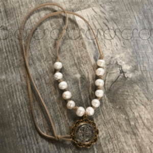 Leather And Pearl St. Benedict Medal Necklace