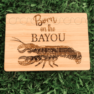Bamboo Decorative Cutting Board- Born On The Bayou Pelican/Swamp