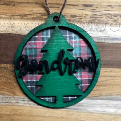 Last Name Layered Ornament With Christmas Plaid