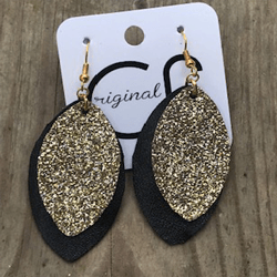 Black And Gold Layered Earrings