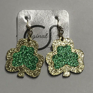 Gold And Green Shamrock Earrings