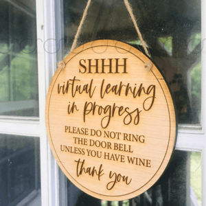 Virtual Learning (wine) Door Hanger