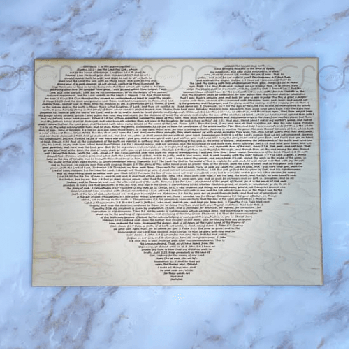 "10x12"" Bible Verse In heart laser engraved on maple"