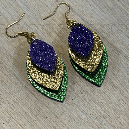 Glitter Mardi Gras Earrings
