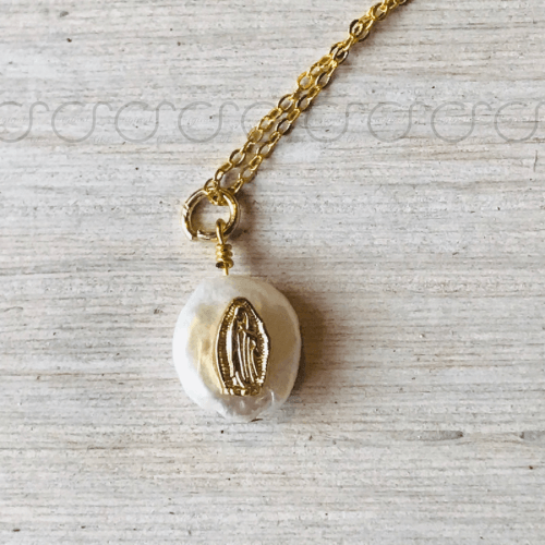 Pearl Our Lady of Guadalupe Necklace