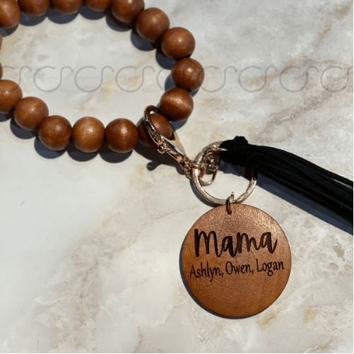 Wooden Wristlet/Bracelet with customizable disc