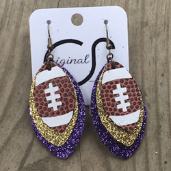 Purple And Gold Football Earrings