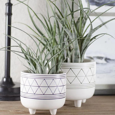 Geometric Footed Planter - Ceramic | Plant Pot, With Feet, Legs, Bohemian, Tillandsia, Air Plant Holder, Pottery, Indoor House Plant