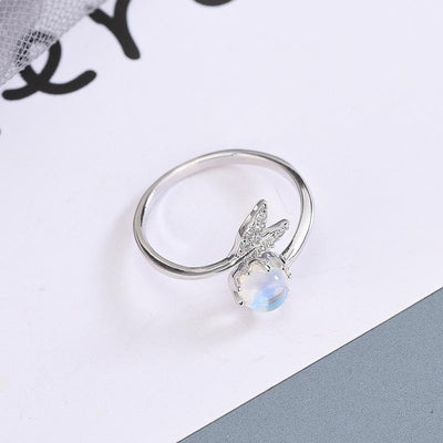Fish Tail Ring with Moonstone