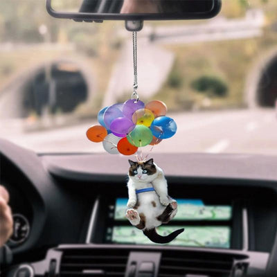 Gift For Cat Lover Cat With Balloon Car Hanging Ornament