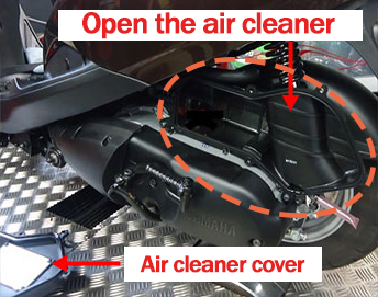 Open the bike air cleaner