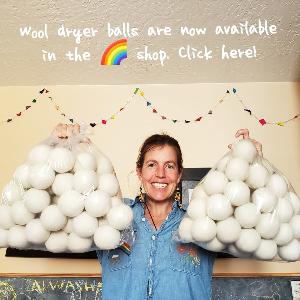 Dryer Balls Coming Up Rainbows