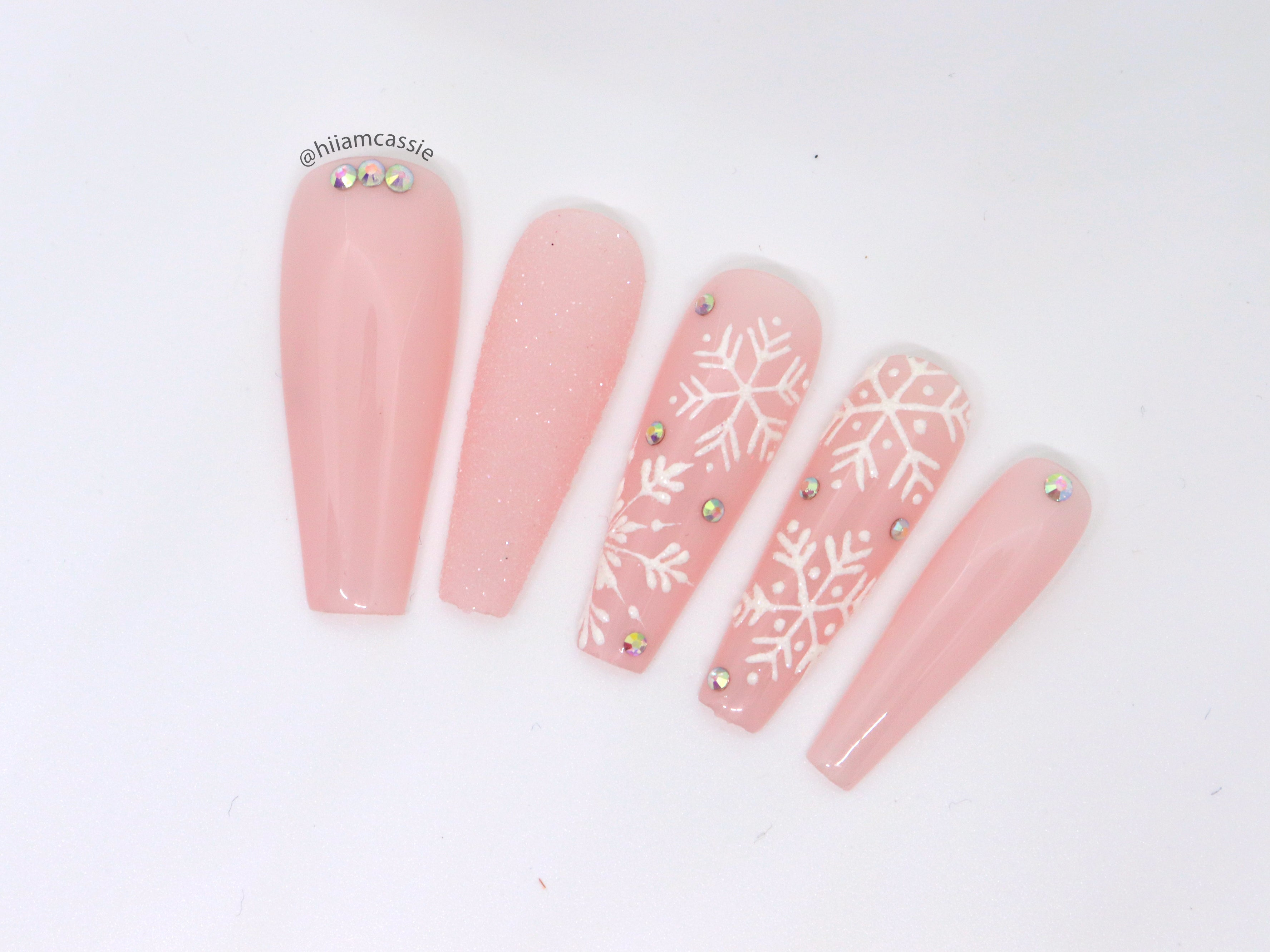 Soft Pink Snowflakes Sugar Effect
