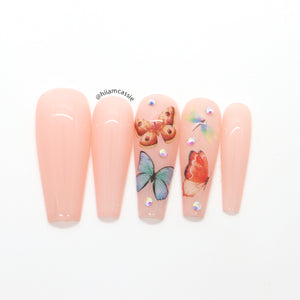 Butterflies on nude pink