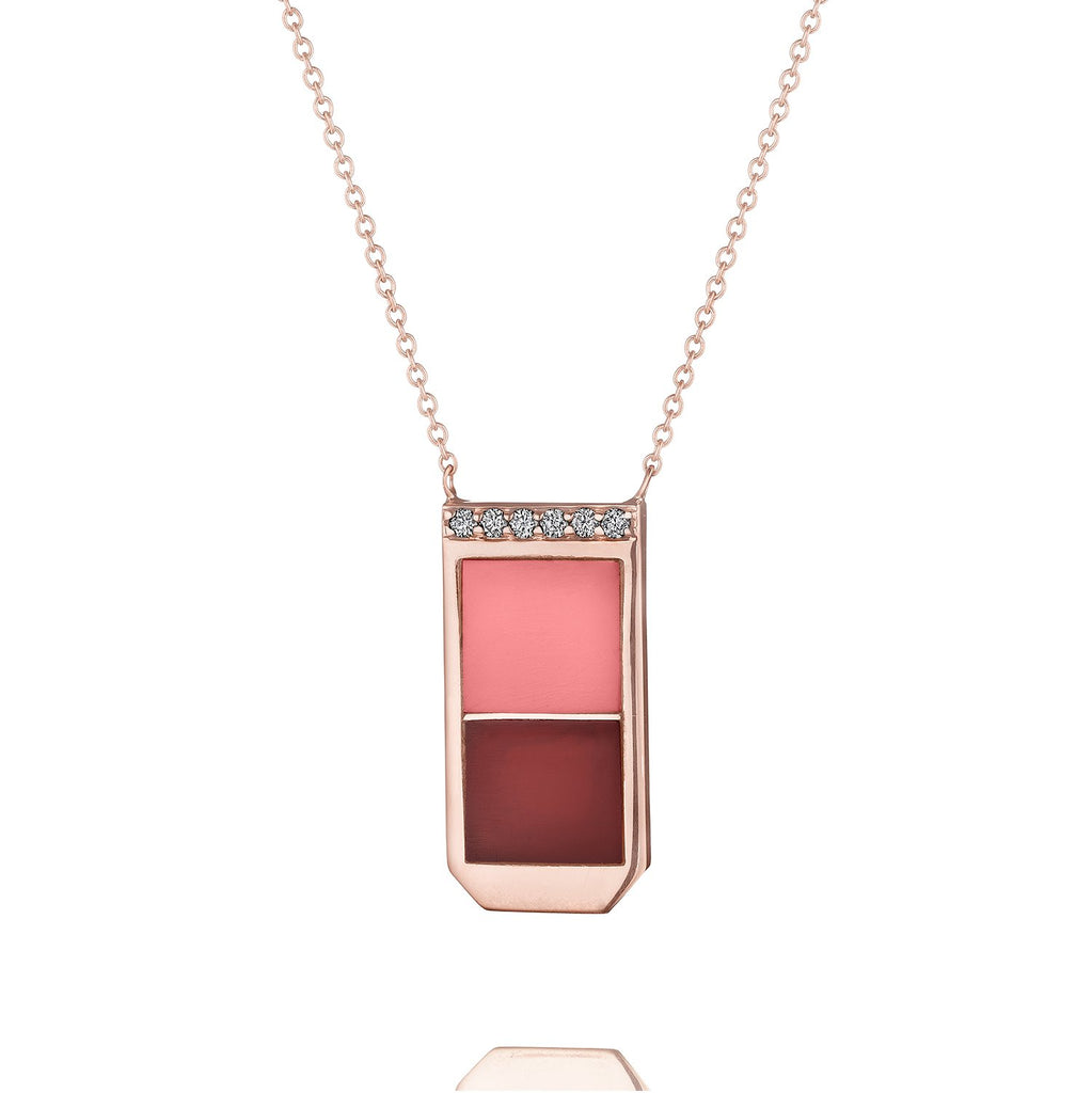 Bleeckerandprince_Color Block necklace- WINE-BLUSH_L