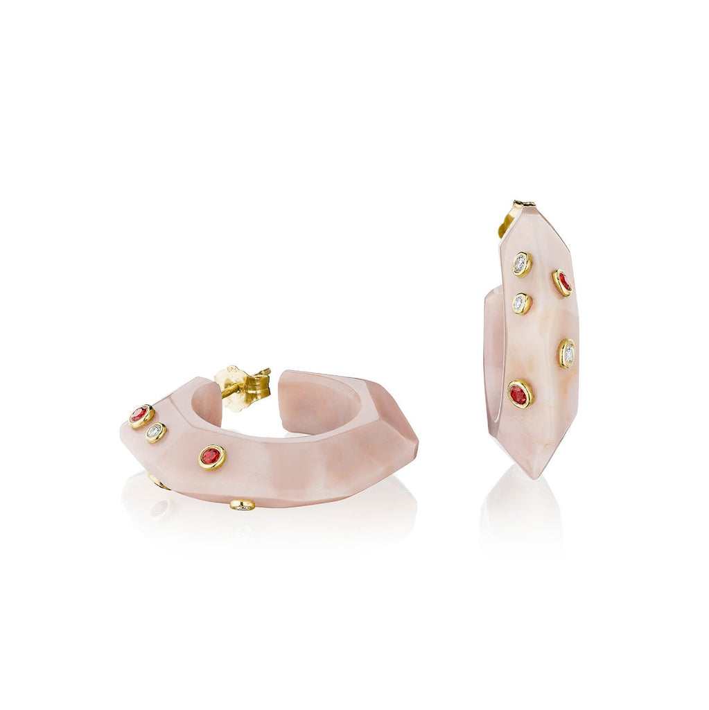 Bleeckerandprince_Pink_Marble_Facet_Hoops_L