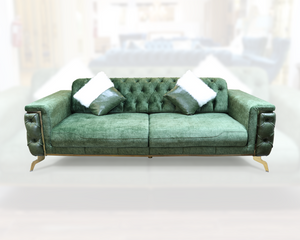 STELLA SOFA SET WITH OLIVE GREEN FABRIC