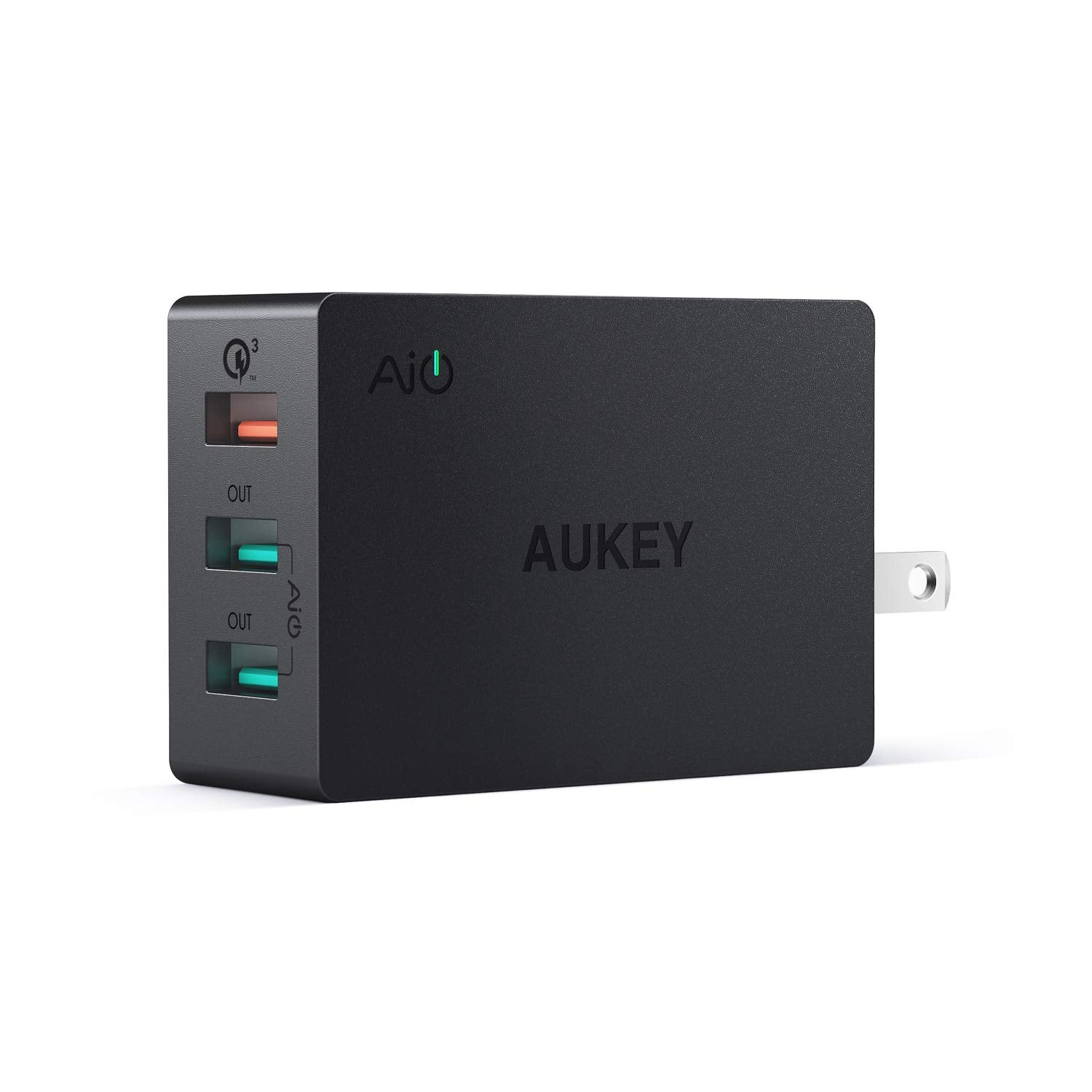 3-Port USB Wall Charger 43.5W with Quick Charge 3.0 & Foldable Plug | PA-T14 | Black | Aukey supertech.pk