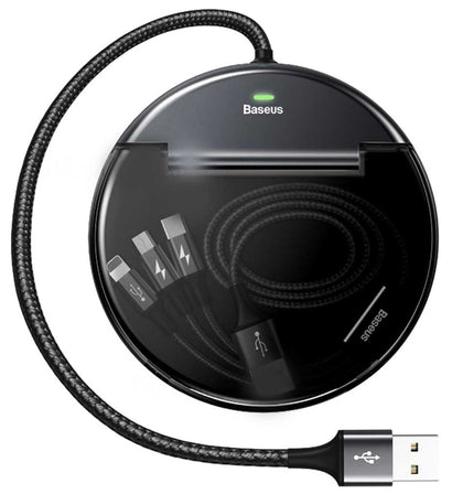 Car Sharing Charging Station (Type-C+Dual USB with Three-in-one M+L+T Data Cable) | Black | Baseus supertech.pk