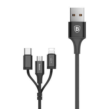 Excellent 3-in-1 Cable (for Micro + IP + Type-C) | 1.2m | Black | Baseus supertech.pk