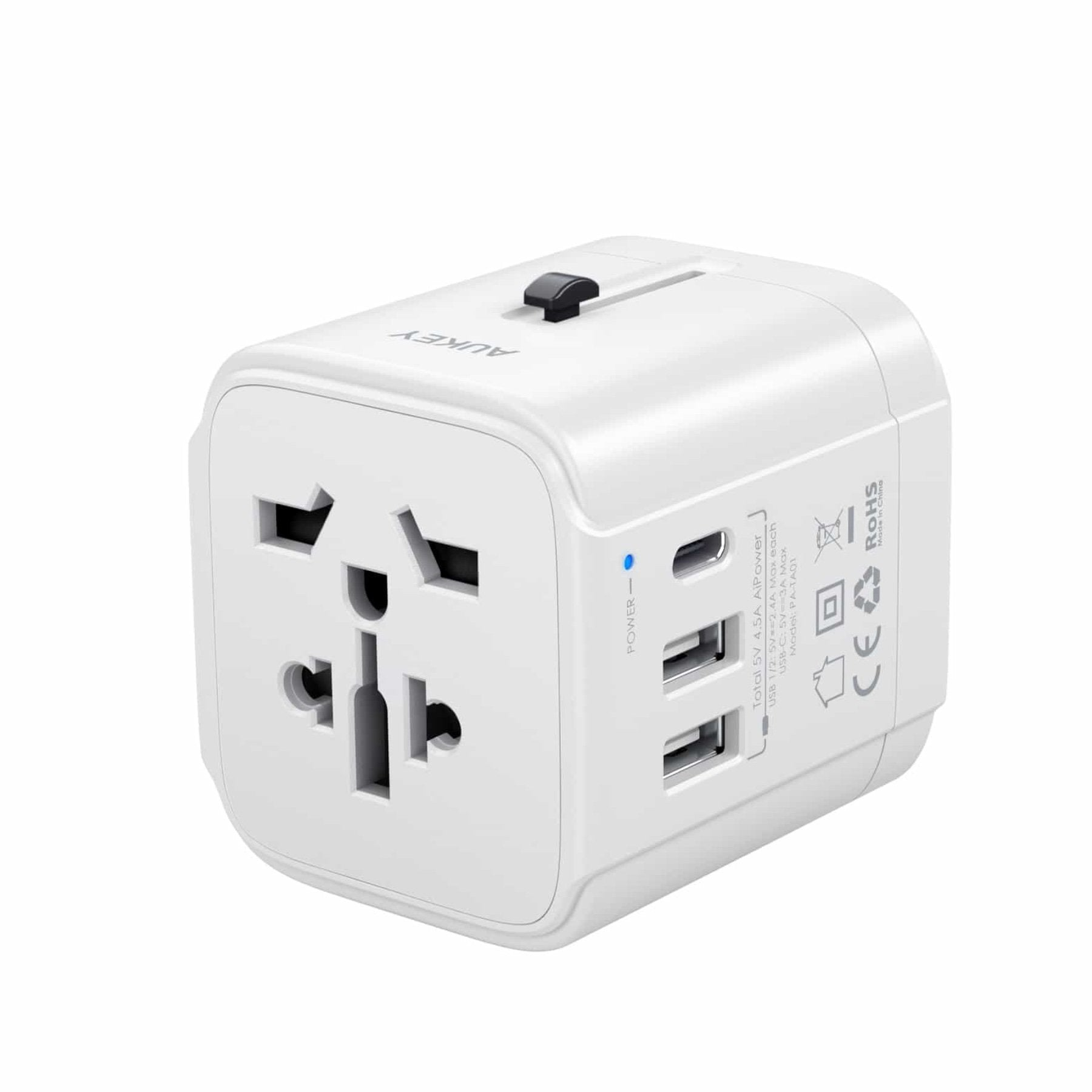 Universal Travel Adapter With USB-C and USB-A Ports | PA-TA01 | Black & White | Aukey supertech.pk