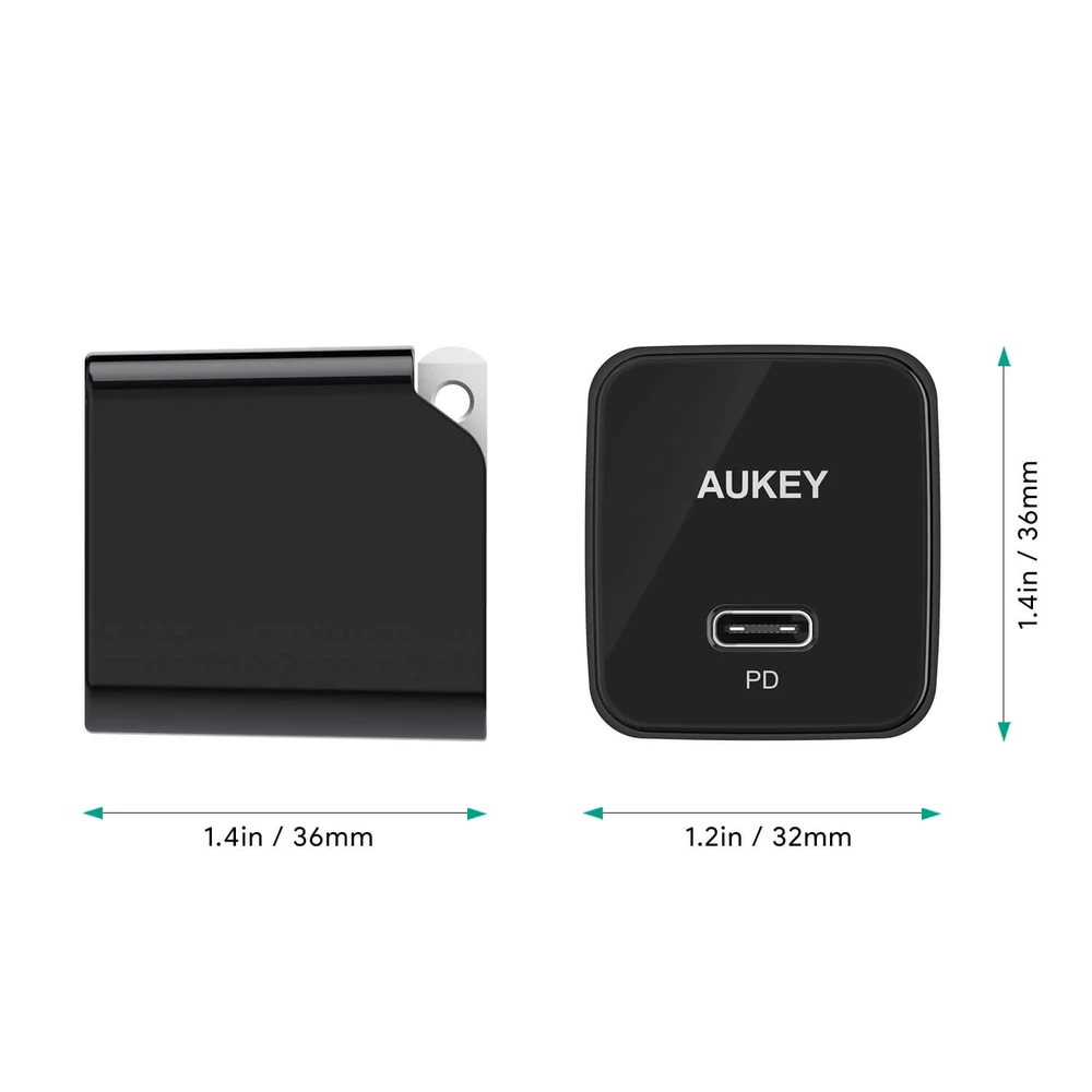 USB C Charger with 18W Power Delivery 3.0, Ultra-Compact USB C Wall Charger | PA-Y18 | Black | Aukey supertech.pk