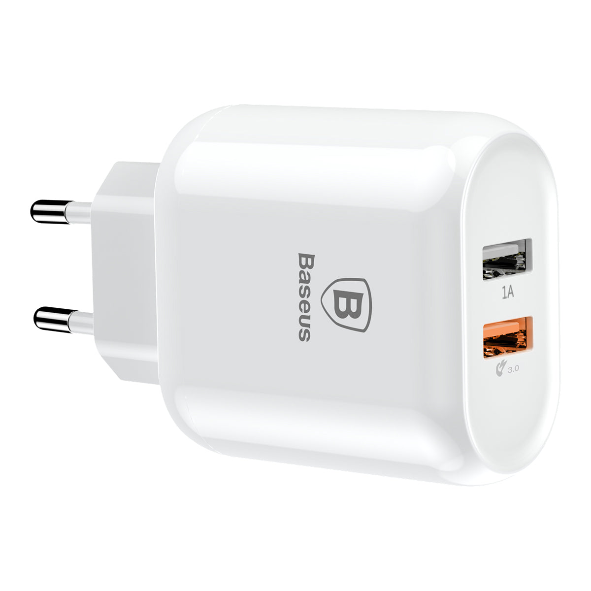 Bojure Series Dual-USB Quick Charge Wall Charger for EU (23W) | White | Baseus supertech.pk