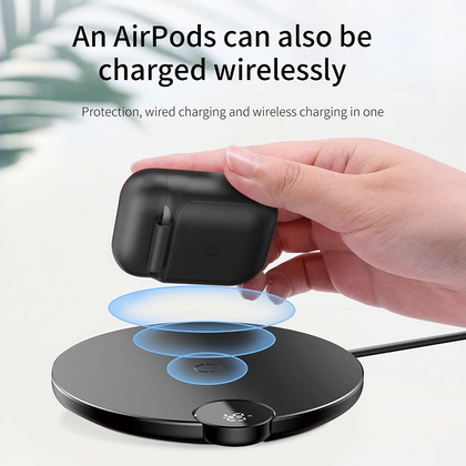 Wirless Charger for Airpods | Black | Baseus supertech.pk