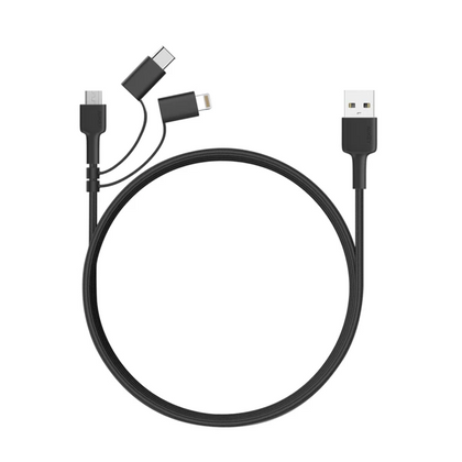 3-in-1 MFi Lightning Cable with Micro-USB & USB-C | CB-BAL5 | Black | Aukey superteck