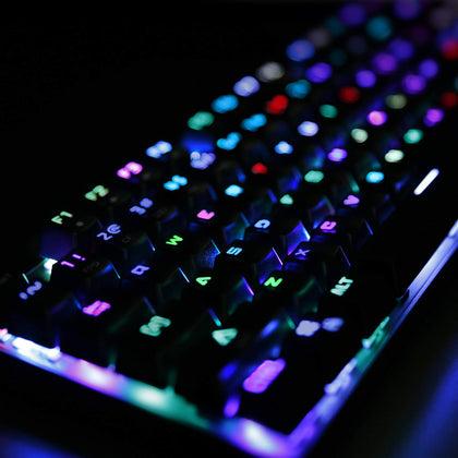 Mechanical Keyboard Blue Switch, 104-Key RGB Backlit Gaming Keyboard with Customizable Lighting Effects, Aluminium USB Wired Keyboard | KM-G3 | Aukey supertech.pk