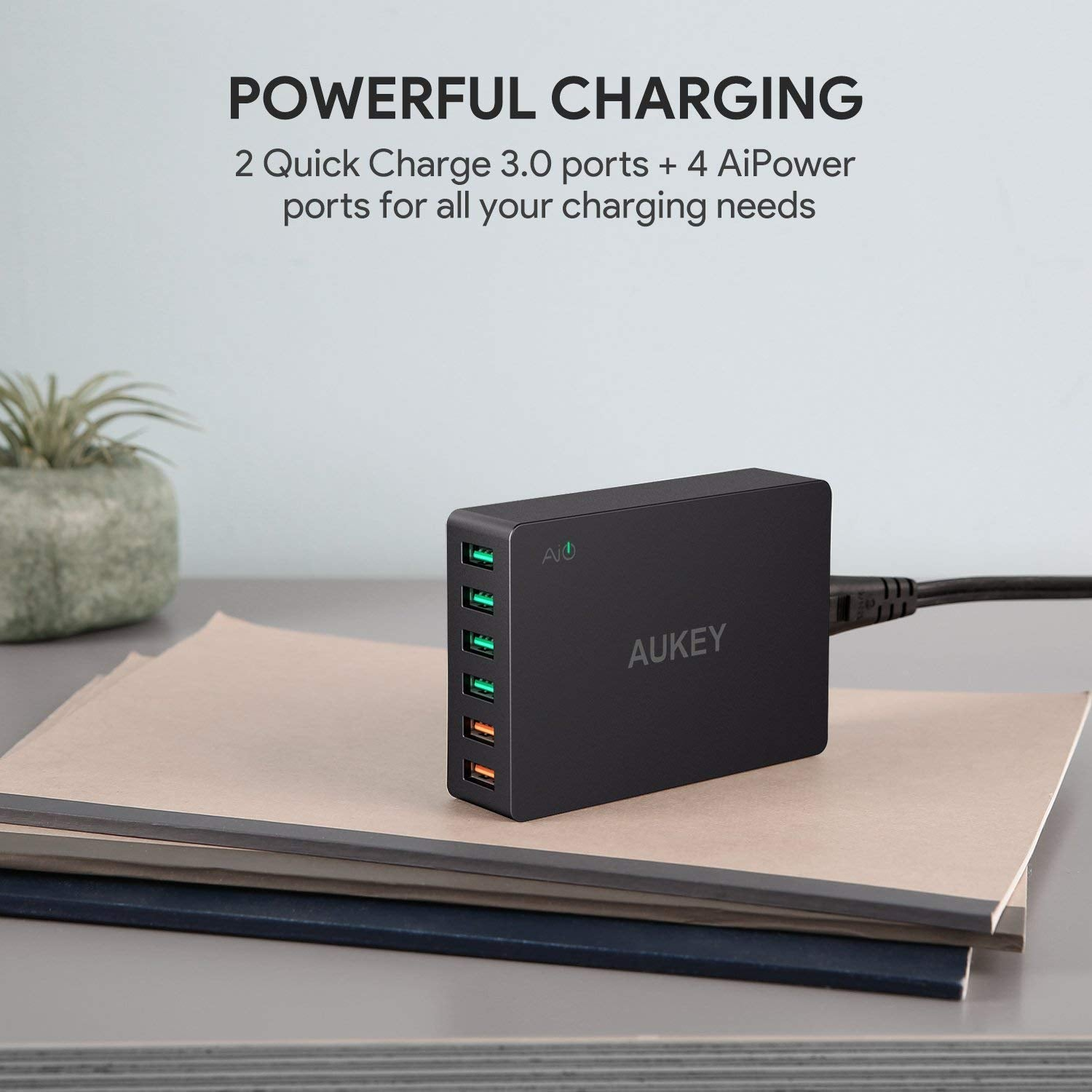 QC 3.0 60W USB Charger with 6-Port USB Charging Station | PA-T11 | Black | Aukey supertech.pk