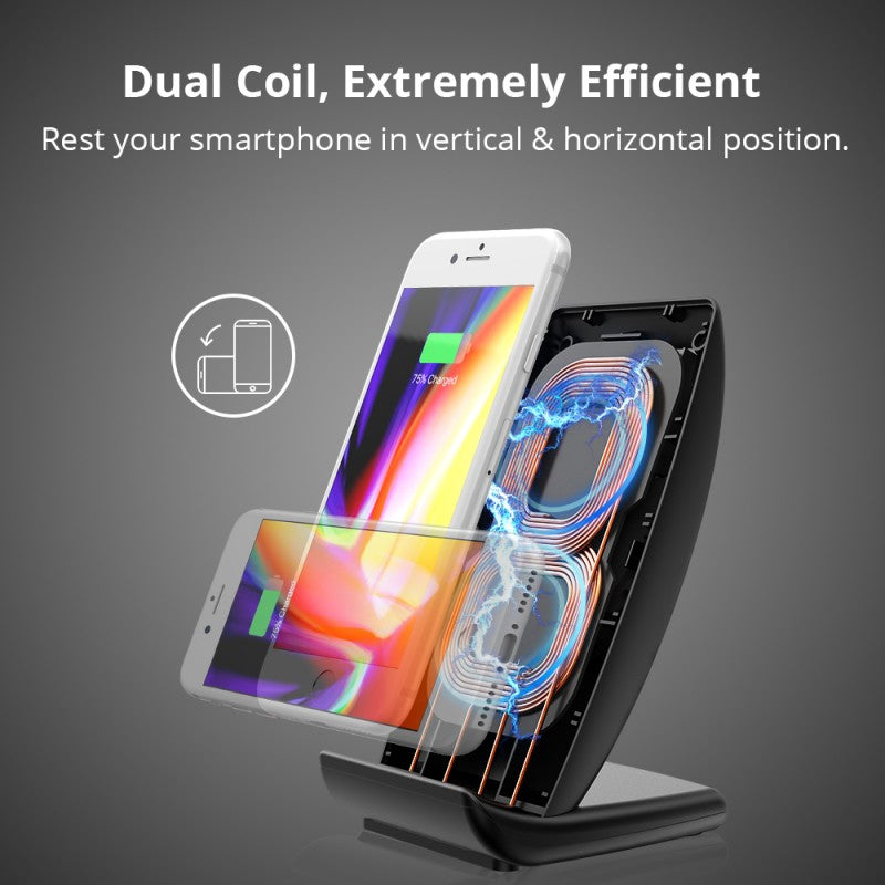 WC05 7.5W Dual Coil Wireless Charging Stand | Black | Tronsmart supertech.pk
