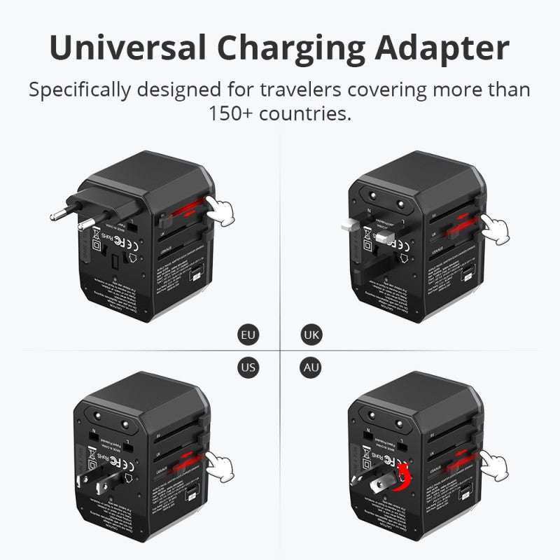 WCP05 33W Universal Travel Adapter | Black | Tronsmart supertech.pk