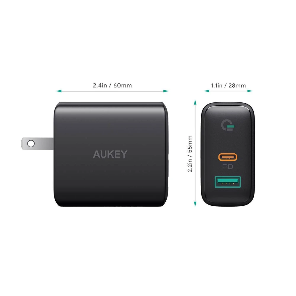 USB C Charger 30W, PD Charger with Power Delivery 3.0 & Dynamic Detect | PA-D1 | Black | Aukey sup[ertech.pk