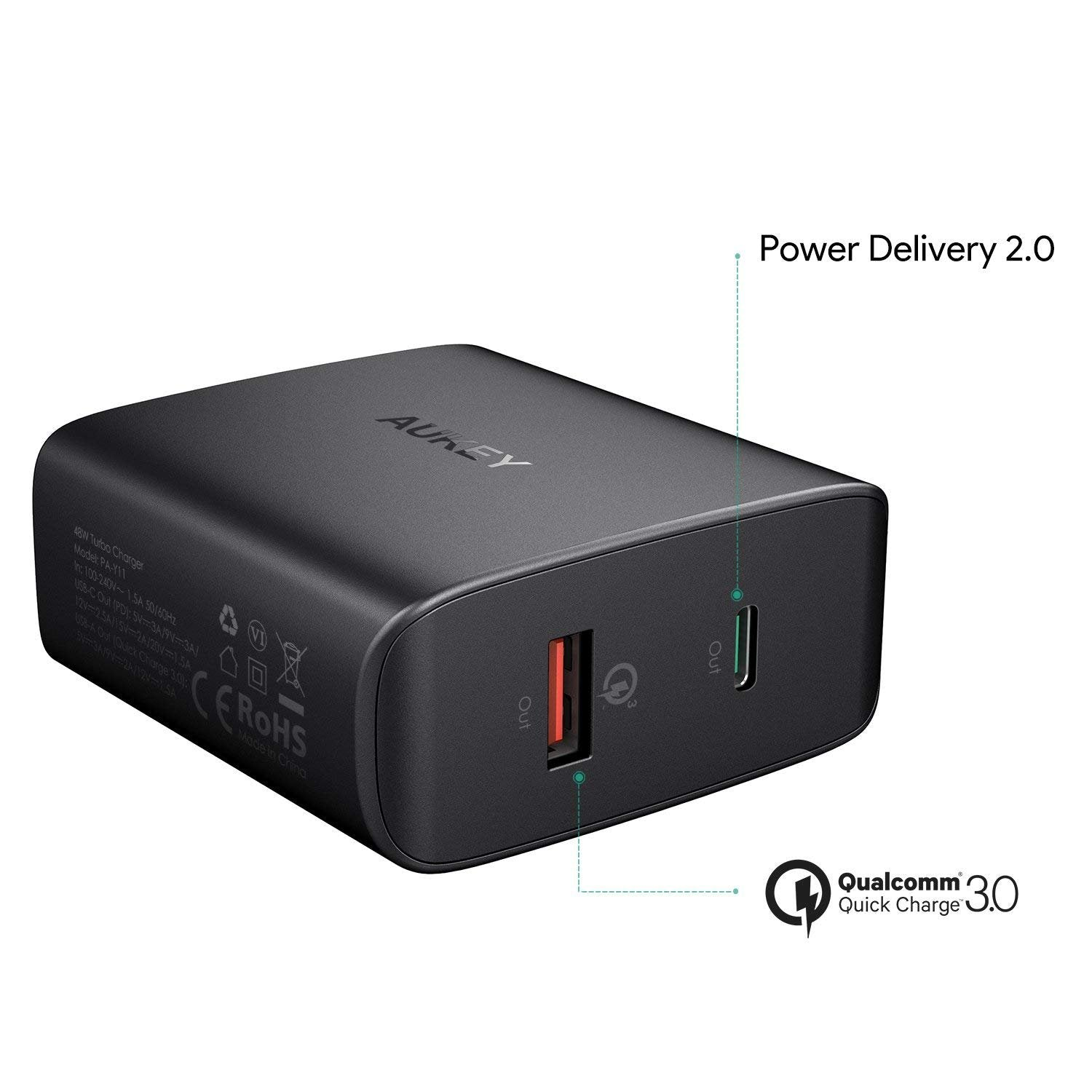 USB C Charger with 30W PD 2.0 & 18W QC 3.0 | PA-Y11 | Black | Aukey supertech.pk
