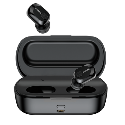 W01 True Wireless Earphones + Charging Case | Black | Baseus supertech.pk