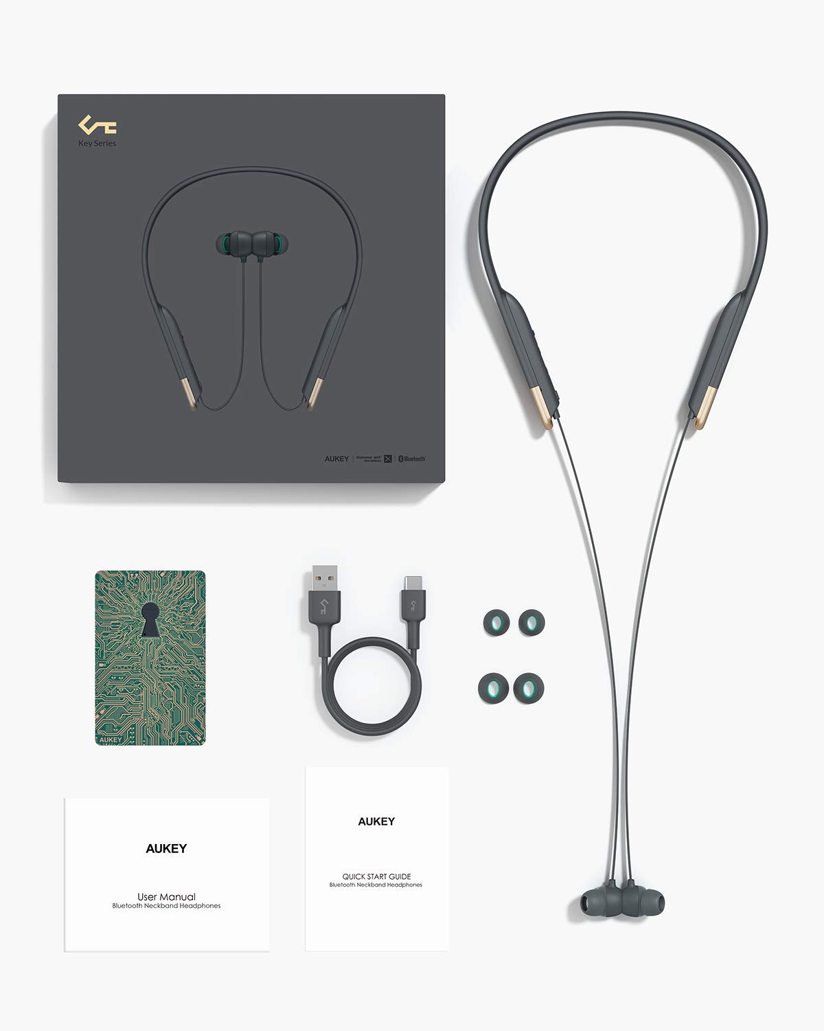 Neckband Earphones Key Series Wireless Earbuds Bluetooth 5.0 aptX | EP-B33 | Aukey supertech.pk