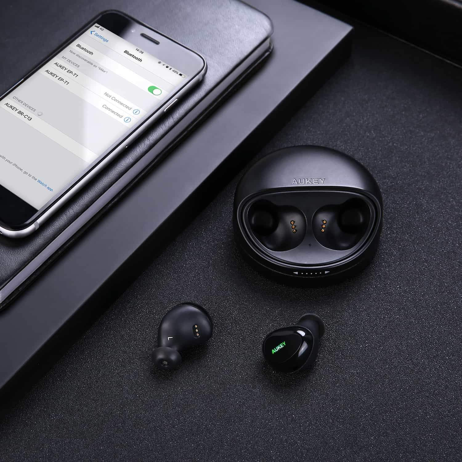 True Wireless Stereo Earbuds With Charging Case | EP-T1 | Black | Aukey supertech.pk