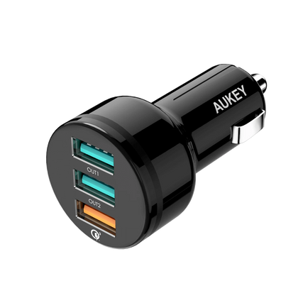 Expedition Trio QC 42W 3-Port Quick Charge 3.0 Car Charger| CC-T11 | Black | Aukey supertech.pk