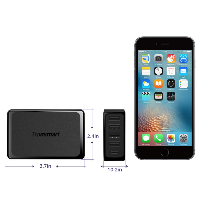 U5P USB-C PD USB Wall Charger | Black | Tronsmart supertech.pk