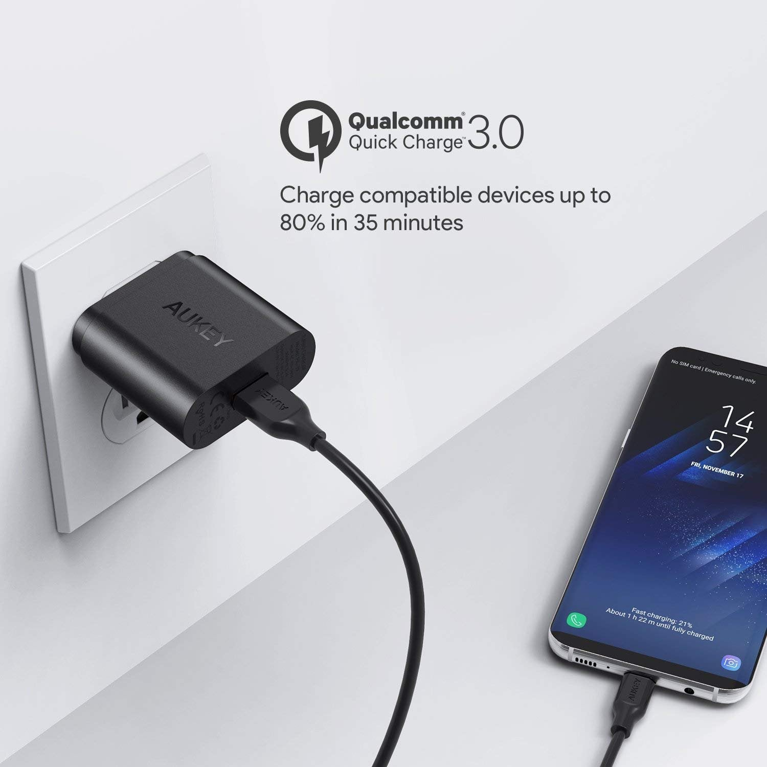 Quick Charge 3.0 18W USB Wall Charger | PA-T9 | Black | Aukey supertech.pk
