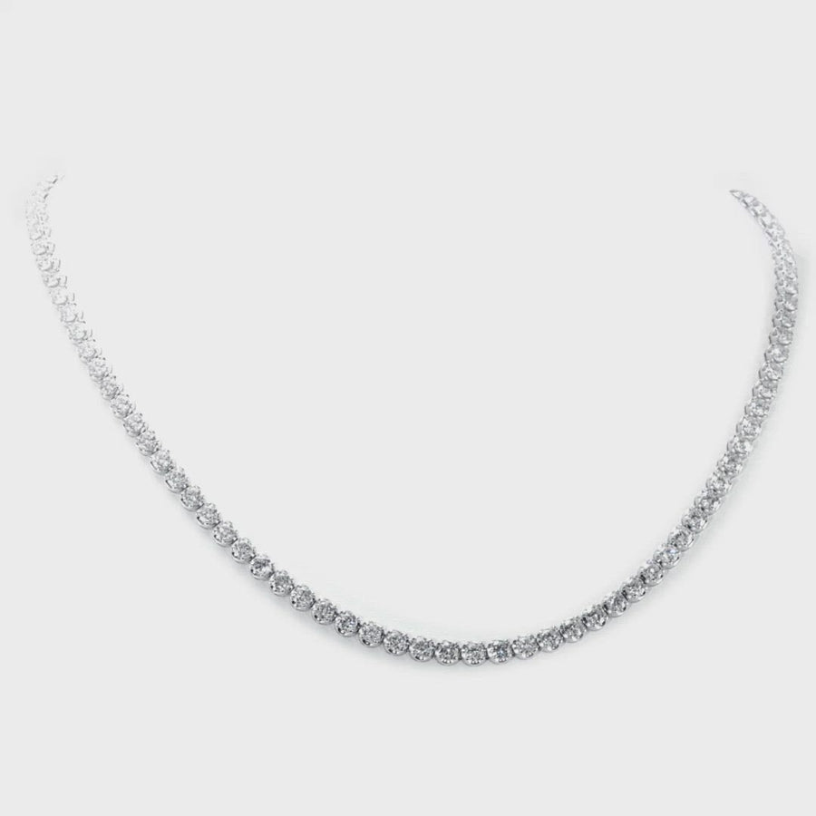 D&P Designs Traditional Straight Line Crown Tennis Necklace Platinum White Gold